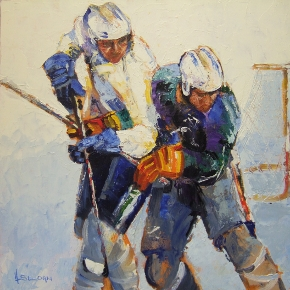 Ice Hockey Painting by Irish Artist Hamilton Sloan