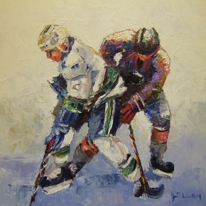 Irish Art Depicting Canadian Ice Hockey game