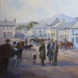 oil painting by Hamilton Sloan of cattle dealers and a young boy with cattle at cattle market in Carlingford county louth